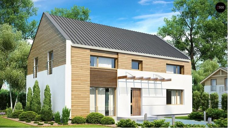 Проект дома оригинального дизайна с просторной гостиной - ZX11