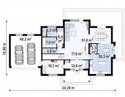 Двухэтажная вилла с гаражом, c балконом над входом.
