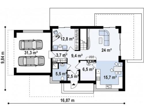Добротный особняк модернистского характера с большой площадью остекления - ZX114