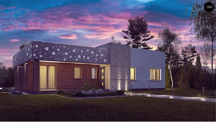 Проект Zx115 Функциональный одноэтажный дом в современном стиле с плоской кровлей.  Проекты домов и гаражей