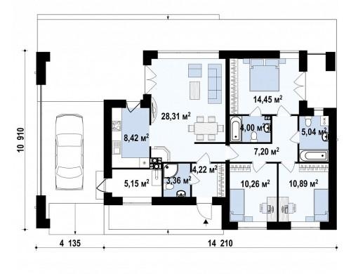 Проект Zx117 Современный одноэтажный дом хай-тек с навесом для автомобиля  Проекты домов и гаражей