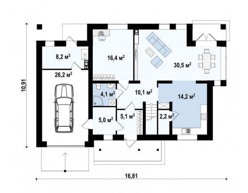 Проект двухэтажного дома традиционной формы с гаражом - ZX12