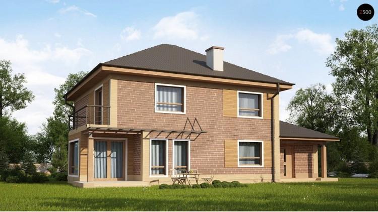 Проект Zx12 k Проект комфортного двухэтажного дома с гаражом. Фасады в кирпичной облицовке.  Проекты домов и гаражей