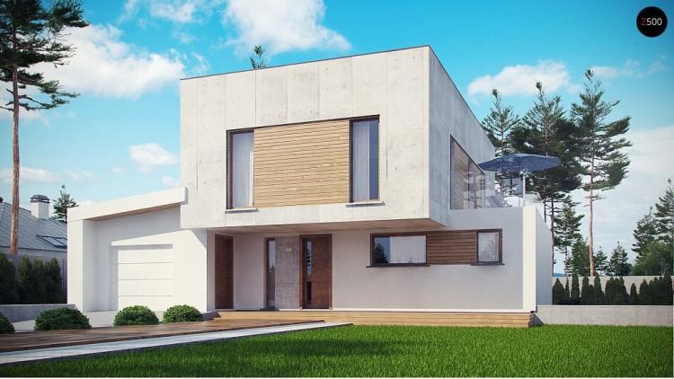 Современный двухэтажный дом с гаражом на 1 машину и террасой