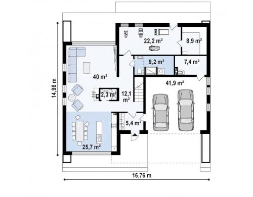Проект Zx123 GP2 Увеличенный вариант проекта Zx123 с гаражом на две машины, кладовой и сауной.  Проекты домов и гаражей
