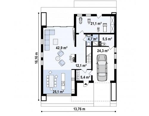 Проект Zx123 Двухэтажный дом в строгом современном стиле, со спортивным залом на первом этаже  Проекты домов и гаражей
