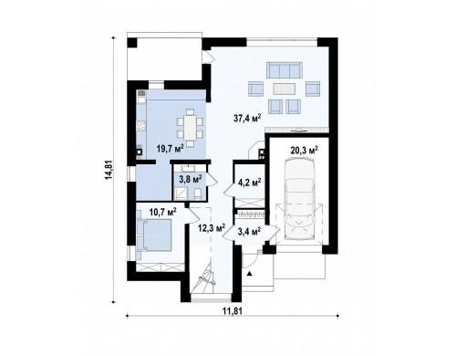 Проект Zx124 Проект дома в современном стиле с большими площадями остекления  Проекты домов и гаражей