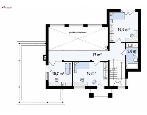 Проект Zx126 Современный двухэтажный дом с облицовкой фасада из кирпича  Проекты домов и гаражей