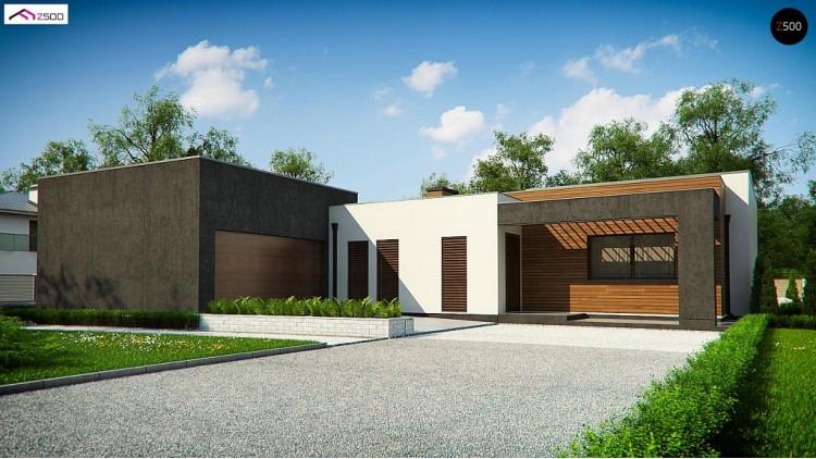 Проект Zx128 Одноэтажный дом с плоской кровлей и террасой  Проекты домов и гаражей