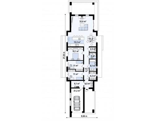 Проект Zx129 Комфортный одноэтажный дом для узкого участка.  Проекты домов и гаражей