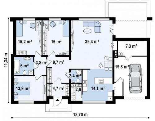 Проект дом с плоской крышей, со светлым функциональным интерьером и гаражом - ZX13