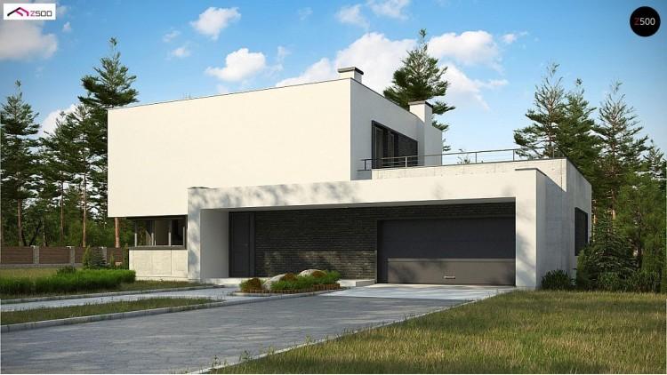 Проект Zx130 Современный двухэтажный дом с просторной террасой и гаражом на две машины.  Проекты домов и гаражей