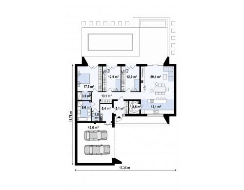 Проект Zx135 Современный плоскокровельный дом с компактной и удобной планировкой  Проекты домов и гаражей