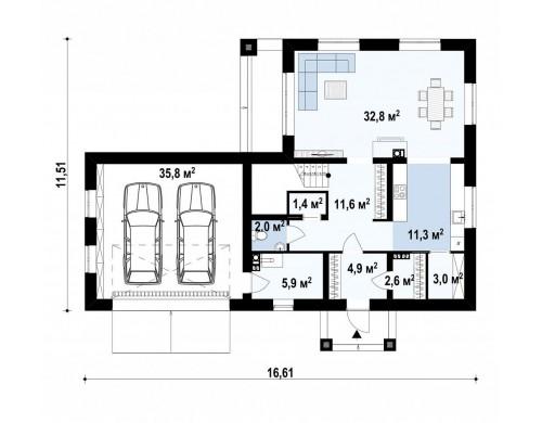 Проект Zx136 Двухэтажный дом с гаражом на две машины  Проекты домов и гаражей