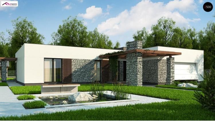 Проект Zx137 Современный одноэтажный дом с двойным гаражом и плоской крышей  Проекты домов и гаражей