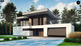 Проект Zx139 Современный стильный двухэтажный дом, с гаражом для двух машин  Проекты домов и гаражей