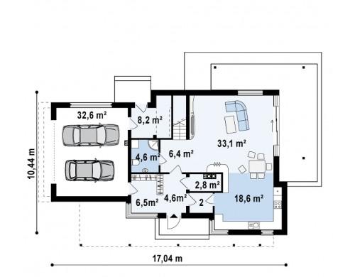 Проект двухэтажного дома в стиле модерн с практичным интерьером и гаражом для двух автомобилей - ZX14