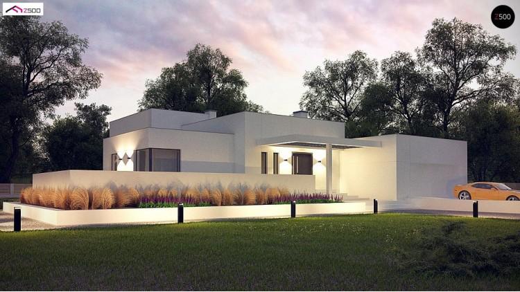 Проект Zx140 Современный проект с уникальным дизайном, оштукатуренным фасадом и гаражом  Проекты домов и гаражей