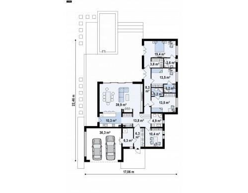 Проект Zx141 Проект современного одноэтажного дома с плоской кровлей.  Проекты домов и гаражей