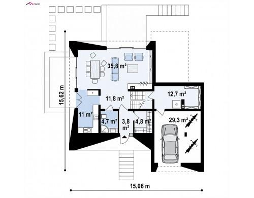 Проект Zx145 Проект современного коттеджа с цоколем и мансардой  Проекты домов и гаражей