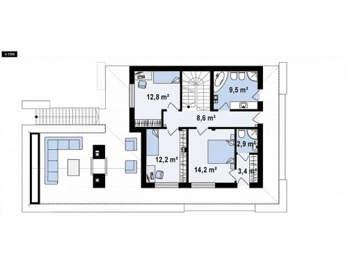 Проект Zx146 Стильный дом в современном стиле с просторной террасой на втором этаже.  Проекты домов и гаражей