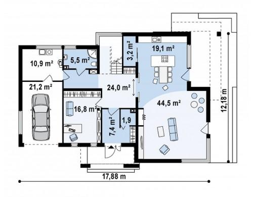 Проект современного добротного особняка в стиле хай-тек - ZX15
