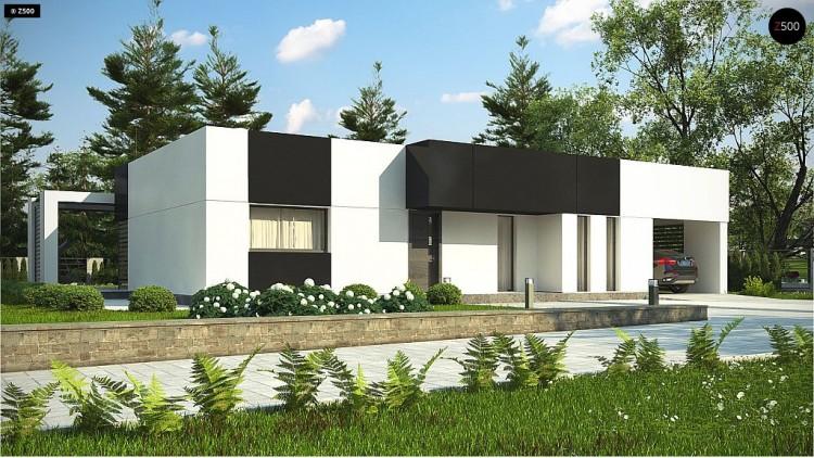 Проект Zx150 Проект современного одноэтажного дома с черно-белыми фасадами и открытым гаражом на 2 машины  Проекты домов и гаражей