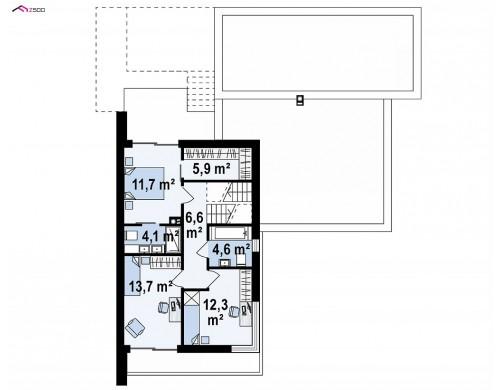 Проект Zx151 Проект современного двухэтажного дома с большой площадью. остекления.  Проекты домов и гаражей