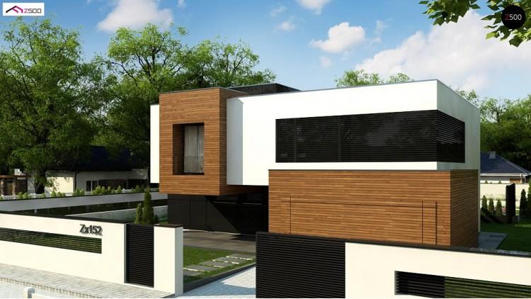 Проект Zx152 Двухэтажный коттедж с плоской крышей и большой террасой  Проекты домов и гаражей