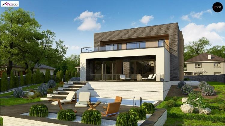 Проект Zx155 Двухэтажный современный дом в стиле модерн.  Проекты домов и гаражей