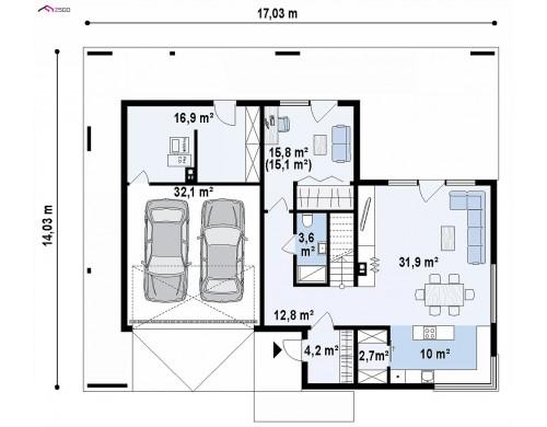 Проект Zx156 Современный дом с 2-х скатной кровлей, окруженный террасой с плоской крышей.  Проекты домов и гаражей