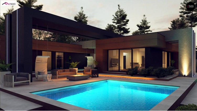 Проект Zx158 Современный дом с одноуровневой планировкой для большой семьи.  Проекты домов и гаражей