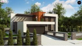 Проект Zx159 Проект двухэтажного дома в современном стиле с гаражом для двух машин и просторной террасой над ним.  Проекты домов и гаражей