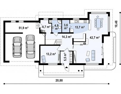 Проект просторного и функционального двухэтажного дома с многоскатной кровлей и гаражом - ZX16