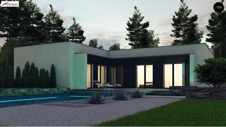 Проект Zx160 Современный одноэтажный дом с плоской крышей и гаражом на один автомобиль.  Проекты домов и гаражей