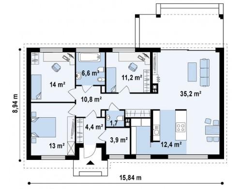Проект одноэтажного дома в современном стиле с двускатной крышей - ZX17