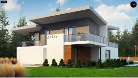 Проект Zx182 Просторный современный дом с плоской кровлей  Проекты домов и гаражей