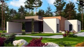 Проект Zx183 Одноэтажный дом с плоской кровлей в современном стиле и навесом для двух машин  Проекты домов и гаражей
