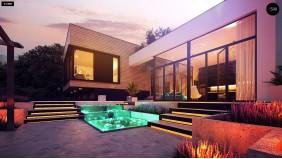 Проект Zx190 Проект современного дома с плоской кровлей и подземным гаражом.  Проекты домов и гаражей