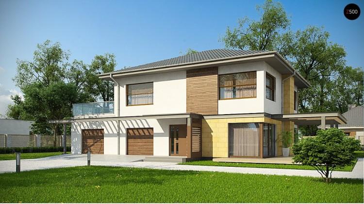 Проект Zx2 GL2 Версия проекта двухэтажного дома Zx2 c увеличенным гаражом  Проекты домов и гаражей