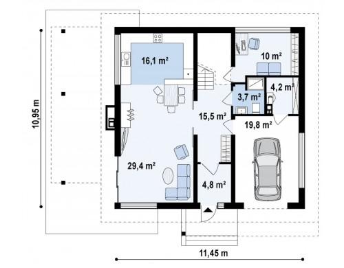 Проект Zx2 L v2 Версия проекта Zx2 c измененной планировкой  Проекты домов и гаражей