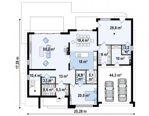 Проект роскошного современного особняка с антресолью над гостиной - ZX20