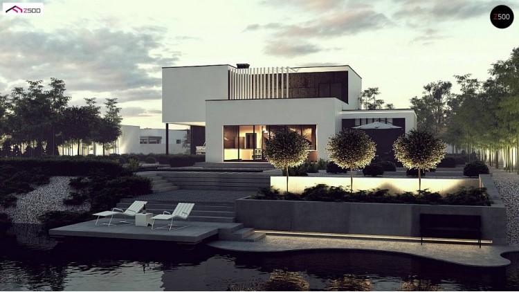 Проект Zx204 Проект двухуровневого дома в современном стиле с несколькими террасами, гаражом и навесом.  Проекты домов и гаражей