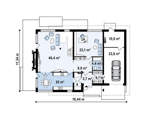 Проект современного дома утонченного дизайна с богатым интерьером - ZX21