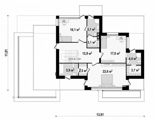 Проект Zx22 Современный двухэтажный дом с гаражом и террасой, спальней на первом этаже и ванной комнатой  Проекты домов и гаражей