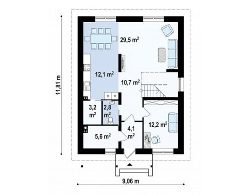 Проект Zx24 a Двухэтажный дом традиционного дизайна, облицованный кирпичом  Проекты домов и гаражей