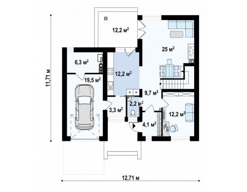 Проект двухэтажного дома с боковым гаражом и кабинетом на первом этаже - ZX24