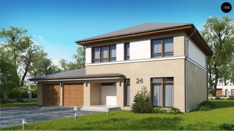 Проект Zx24 GL2 Версия двухэтажного дома Zx24 c увеличенным гаражом для двух машин  Проекты домов и гаражей