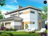 Проект удобного двухэтажного дома в стиле модерн с боковым гаражом - ZX25
