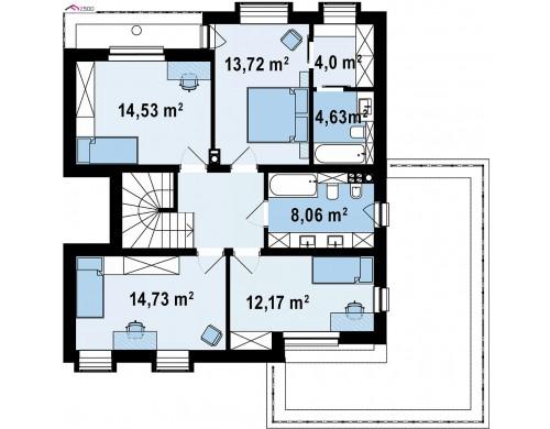 Проект Zx255 Проект двухэтажного дома с современным фасадом и удобным интерьером.  Проекты домов и гаражей